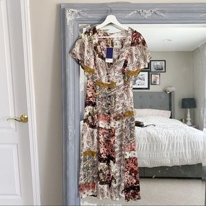 NWT Zara Paisley Patchwork Boho Midi Dress